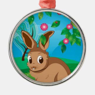 Brown Rabbit on Lawn Metal Ornament
