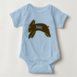 Brown Rabbit Personalized Kids Baby Bodysuit