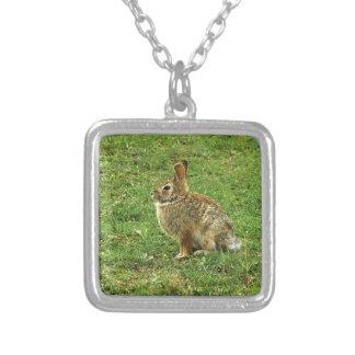 Brown Rabbit Square Pendant Necklace