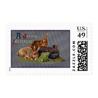 Brown Rabbits and Bucket Vintage Easter Stamp