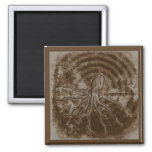Brown Radical Octopus 2 Inch Square Magnet