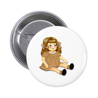 Brown Rag Doll 2 Inch Round Button