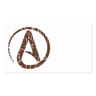 Brown rasguñó y símbolo ateo llevado del ateísmo tarjetas de visita