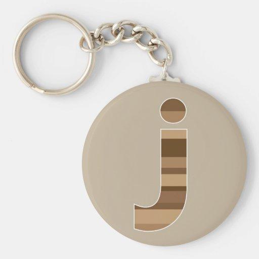 Brown rayó el monograma - letra J Llavero Personalizado