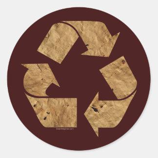 Brown recicla la muestra pegatinas redondas