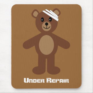Brown Recovery Teddy Bear Under Repair Mouse Pad