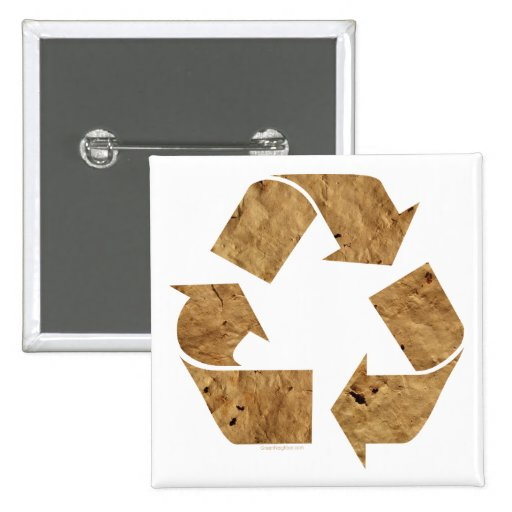 Brown Recycle Sign Buttons