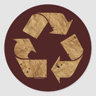 Brown Recycle Sign Classic Round Sticker