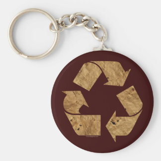 Brown Recycle Sign Keychain