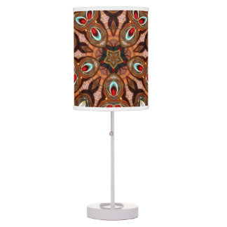 Brown Red abstract colorburst accent table lamp