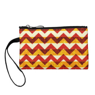 Brown Red and Yellow Indian Chevron Coin Wallet