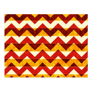 Brown Red and Yellow Indian Chevron Postcard