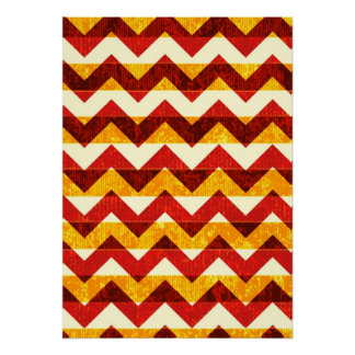 Brown Red and Yellow Indian Chevron Poster