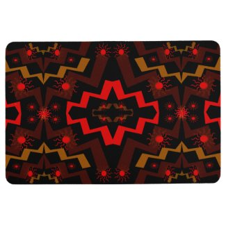 Brown Red Black Lightning Suns Abstract Floor Mat