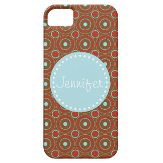 Brown Red & Blue Circle Design, name. iPhone iPhone SE/5/5s Case