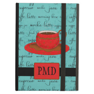 Brown Red Coffee Cup on Turquoise Script Monogram Case For iPad Air
