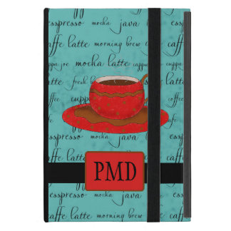 Brown Red Coffee Cup on Turquoise Script Monogram Case For iPad Mini