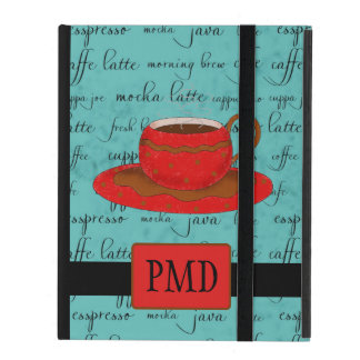 Brown Red Coffee Cup on Turquoise Script Monogram iPad Cover