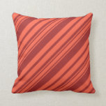 [ Thumbnail: Brown & Red Colored Striped Pattern Throw Pillow ]