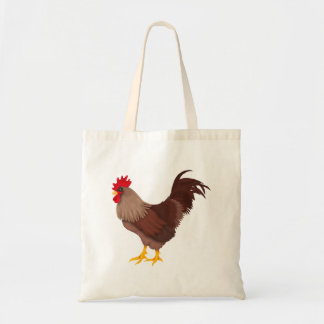 Brown Red Country Rooster Tote Bag