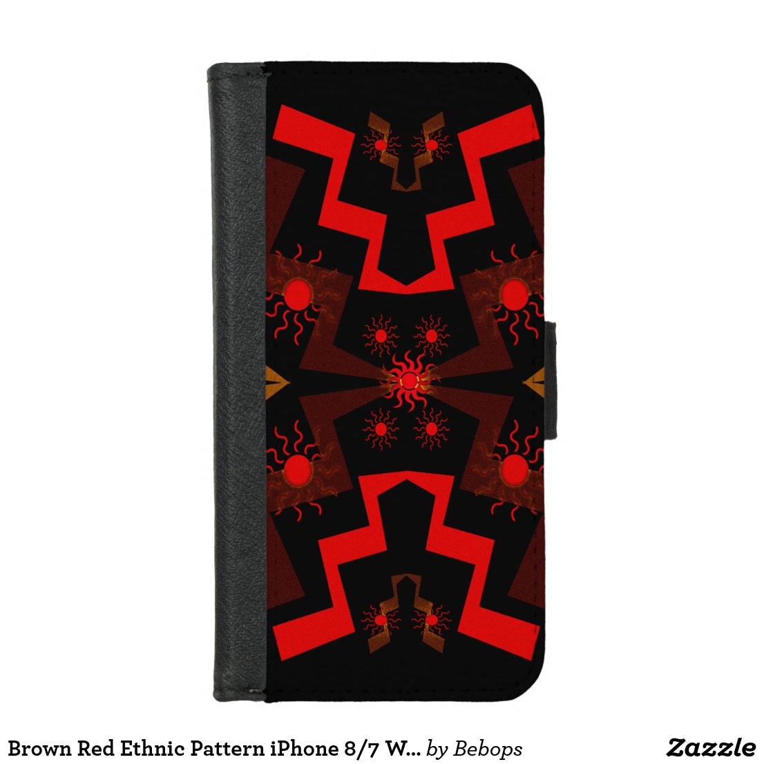 Brown Red Ethnic Pattern iPhone 8/7 Wallet Case