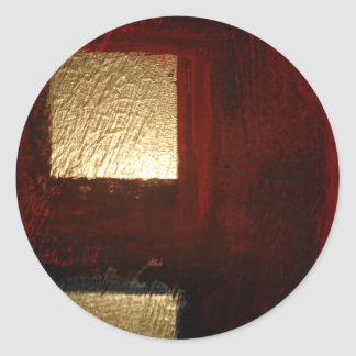 Brown Red Gold Abstract Classic Round Sticker