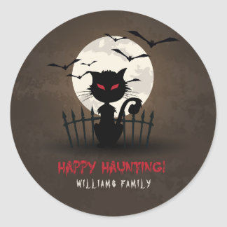 Brown & Red Happy Hunting Scary Cat Classic Round Sticker