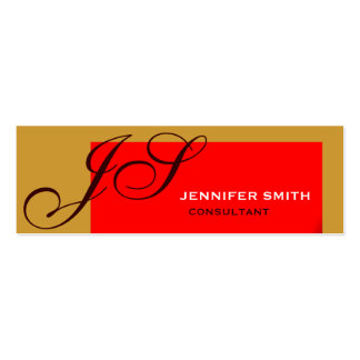 Brown Red Monogram Consultant Business Card