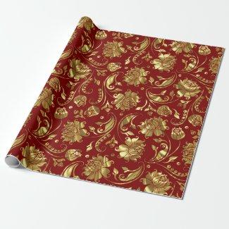 Brown-red & Shiny Gold Damask Pattern