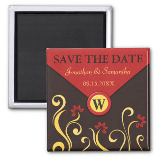 Brown Red Swirls Save The Date Fridge Magnets