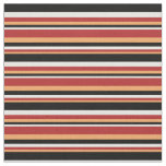 [ Thumbnail: Brown, Red, White, and Black Colored Pattern Fabric ]