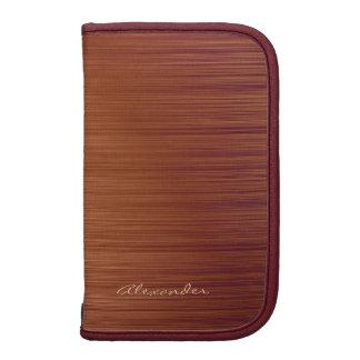 Brown Red Wood Texture-Monogramed Organizer