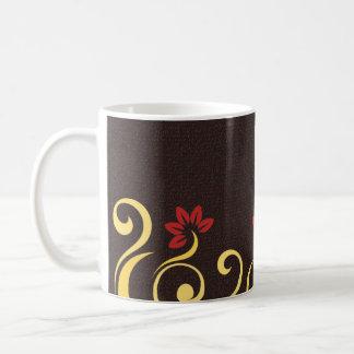 Brown Red Yellow Floral Swirl Custom Coffee Mug