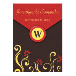 Brown Red Yellow Floral Swirls Wedding Invites 7x5