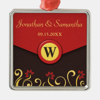 Brown Red Yellow Floral Swirls Wedding Ornament