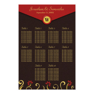 Brown Red Yellow Swirls Table Seating Chart 10 Poster