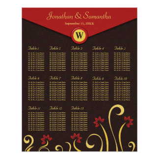 Brown Red Yellow Swirls Table Seating Chart 13 Poster