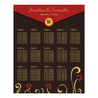 Brown Red Yellow Swirls Table Seating Chart 14 Poster