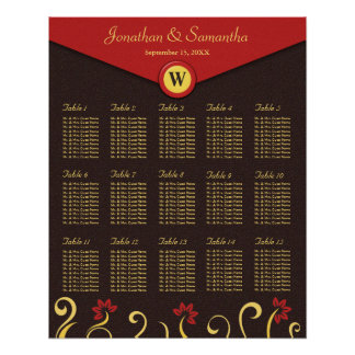 Brown Red Yellow Swirls Table Seating Chart 15 Poster