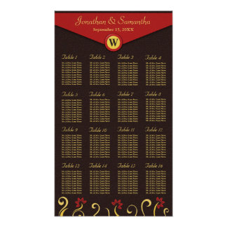 Brown Red Yellow Swirls Table Seating Chart 16 Poster