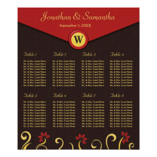Brown Red Yellow Swirls Table Seating Chart 8 Poster