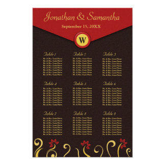 Brown Red Yellow Swirls Table Seating Chart 9 Poster