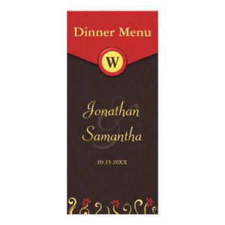 Brown Red Yellow Swirls Wedding Dinner Menu Cards