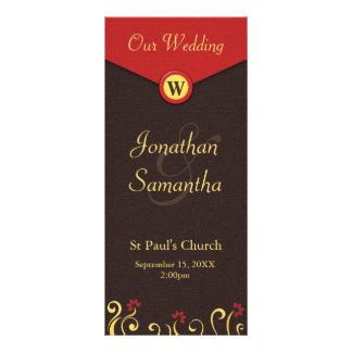 Brown Red Yellow Swirls Wedding Program Templates