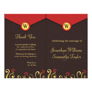 Brown Red Yellow Swirls Wedding Program Templates
