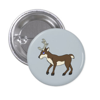 Brown Reindeer with Antlers Button