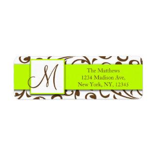 Brown remolina etiqueta verde del remite del damas etiquetas de remite