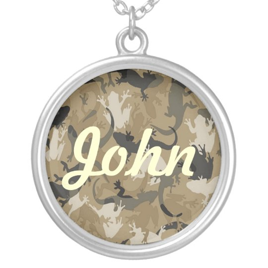Brown Reptile Camouflage Name Necklace