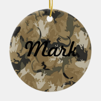 Brown Reptile Camouflage Name Ornament