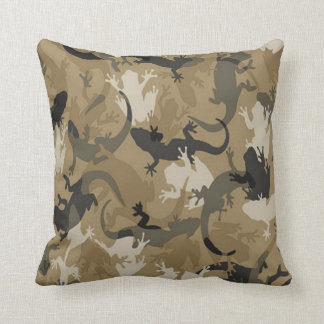 Brown Reptile Camouflage Reversible Pillow